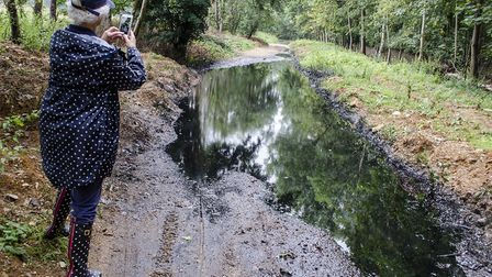 Oil has run over a quarter of a mile down the lane towards Wheathampstead. Picture: Mike Smith