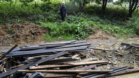 Scrap wood was also found to have been fly tipped at the scene. Picture: Mike Smith