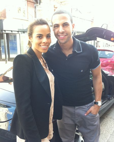 Rochelle Wiseman and Marvin Humes outside the Herts Ad office