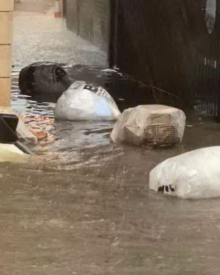 Flooding outside Costa Coffee in St Neots. PICTURE: Susan A Sangster