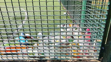 Rubbish dumped at Rothampsted Park's astro turf pitch.