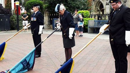 Standard bearers on the Market Square at Huntingdon on Saturday.