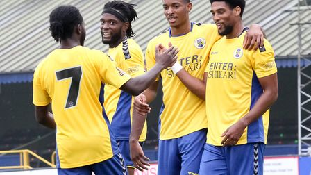Shaun Jeffers (right) takes the congratulations for St Albans City against Hashtag United. Picture:
