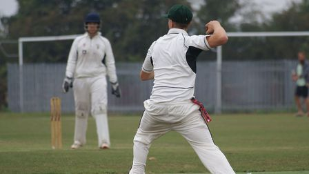 Josh Arnold in action for Redbourn during their win over Horndon-on-the-Hill in the National Village