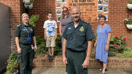 Tranquil space for dedicated ambulance staff at new wellbeing garden. From left to right, Lesley Hal