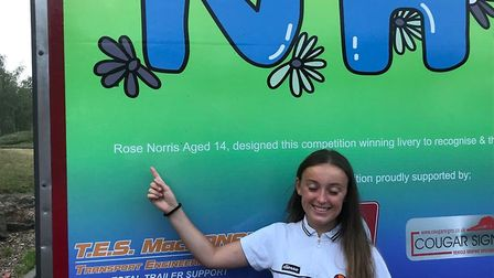 Rose Norris, 14, from Royston saw her design thanking the NHS on the side of a lorry after winning a