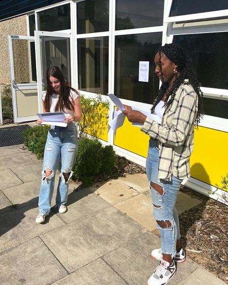 Becky Vigus and Absa Carew received the grades they needed to go on to study A-levels. Picture: King
