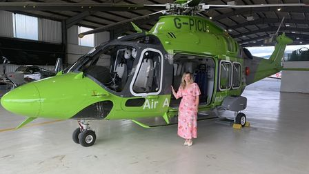 It's OK To Say charity founder Stacey Turner with the Children's Air Ambulance.