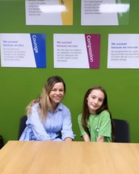 It's OK To Say charity founder Stacey Turner with Children's Air Ambulance supporter Chloe Hadley.