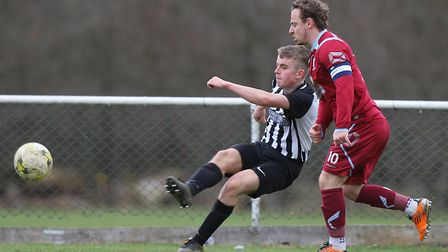 Dominic Knaggs rattled the crossbar for Colney Heath. Picture: KARYN HADDON
