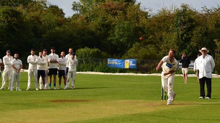 Joe Dawborn in the bowl-off as Eaton Socon beat Liphook & Ripsley in the National Village Cup. Pictu