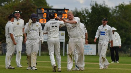 Jon Carpenter celebrates a wicket as Eaton Socon beat Liphook & Ripsley in the National Village Cup.