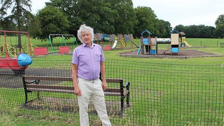 Cllr Anthony Rowlands at the old playground in Verulamium Park.