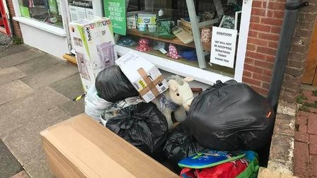 St Albans charity shop asks the public not to dump items outside their stores. Picture: Roma Mills