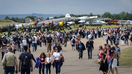 Crowds at last year's Flying Legends Air Show at Duxford IWM. Picture: JAMIE PLUCK