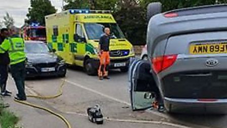 Car flipped on roof after serious incident in Huntingdon.