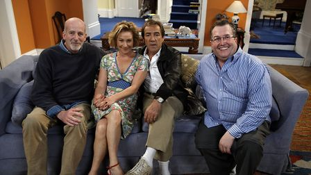 Paul Minett and Brian Leveson with My Family cast members Zoë Wanamaker and Robert Lindsay. Picture: