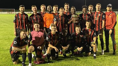 Huntingdon Town celebrate their victory over Stevenage in the Mayors Cup. Picture: HUNTINGDON TOWN F