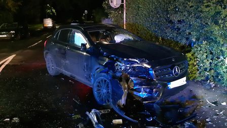 Two people were arrested after a collision following a police pursuit of a stolen car in St Albans.