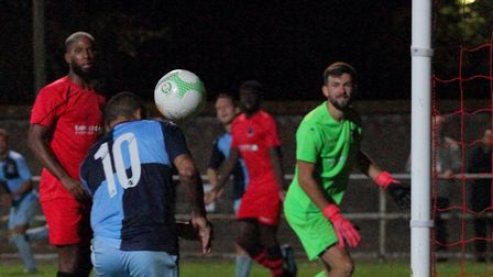 Leon Lobjoit scores his second and St Neots Town's fourth in their FA Cup match with Pinchbeck Unite