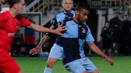 Leon Lobjoit in action for St Neots Town in their FA Cup match with Pinchbeck United. Picture: DAVID