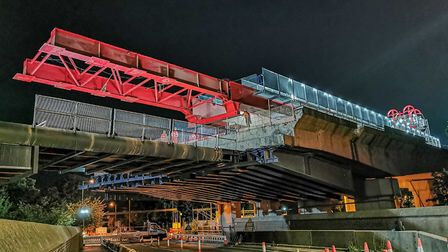 The red crane has been removed at the Huntingdon viaduct.