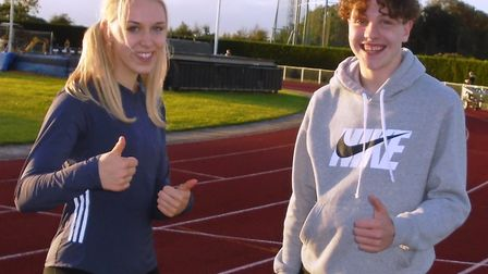 Lizzy Harrison and Lewis Wing both set Huntingdonshire Athletics Club records at 150m.