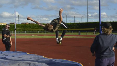 Evan Nimmons of Huntingdonshire Athletics Club improved his personal best in the high jump.