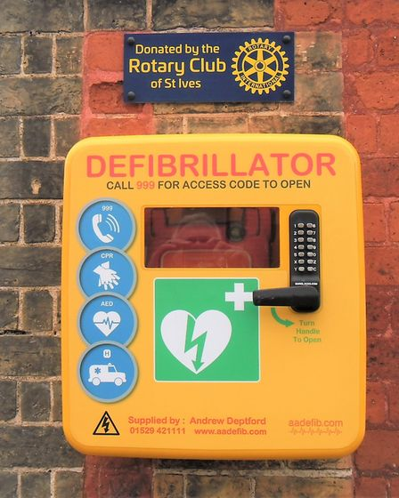 Defibrillator inspired by life-saving Rotarian installed in St Ives town centre. Picture: ST IVES RO
