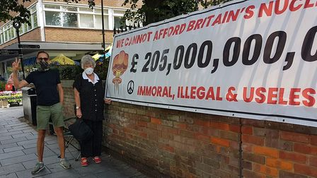 The St Albans Campaign for Nuclear Disarmament displayed a banner in the city centre during July and