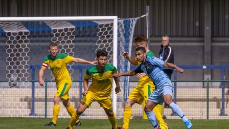 Leon Lobjoit in action for St Neots Town against Hitchin Town in their pre-season friendly. Picture: