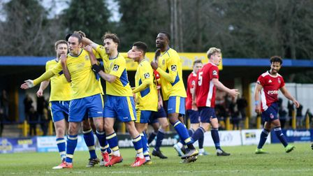St Albans City drew 1-1 at home to Hampton & Richmond Borough in December 2019. Picture: JIM STANDEN