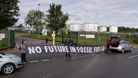 Extinction Rebellion are protesting outside the Hemel Hempstead Buncefield site today. Picture: XR