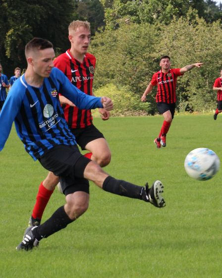 Dan Bradley of Harpenden Colts Res shoots for goal against Forza Watford. Picture: BRIAN HUBBALL