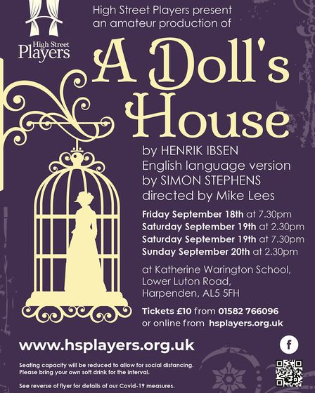 High Street Players are putting on a live theatre production of A Doll's House in Harpenden from Sep