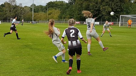 Ella Holmes sticks in a cross for Colney Heath Ladies in their 2-1 win over Herts Vipers in the extr