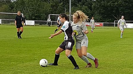 Mia Pinkham in action for Colney Heath Ladies in their 2-1 win over Herts Vipers in the extra-prelim