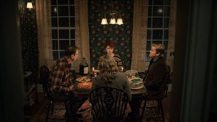 David Thewlis as Father, Jessie Buckley as Young Woman, Toni Collette as Mother, and Jesse Plemons a