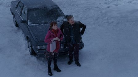 Jessie Buckley as Young Woman and Jesse Plemons as Jake in I'm Thinking Of Ending Things. Picture: M