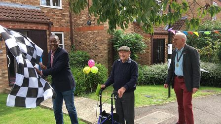 Ken Salmon embarked on 93 laps of his Jersey Farm care home for Project 50, with the support of MP B