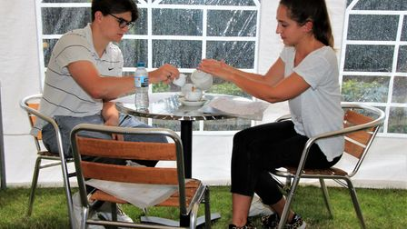 Afternoon tea in the new marquee at Melbourn Community Hub. Picture: Clive Porter