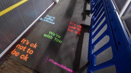 Affirmation Art at St Albans Station on World Suicide Prevention Day. Picture: Peter Alvey