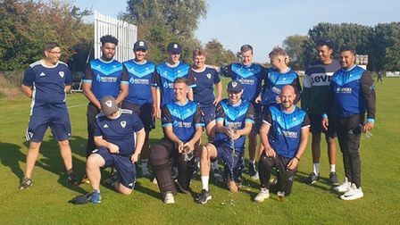 St Ives & Warboys Cricket Club celebrate their victory over Histon in the 2020 Cambs & Hunts Premier