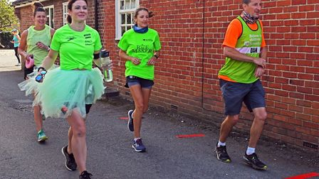 Runners setting off from the Exhibition Pub in Godmanchester yesterday PICTURE: Archant