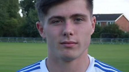 Jordan Brown got Eynesburys only goal on his 150th appearance. Picture: EYNESBURY ROVERS FC