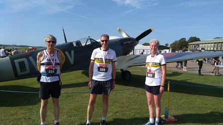 Simon Lumley, David Newton and Alice Edwards of BRJ Run and Tri took part in the 10k race at Duxford