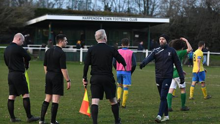 Harpenden Town manager Micky Nathan is proud of the team's work this week. Picture: JAMES LATTER