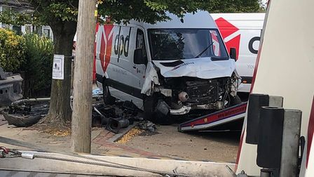 A van crashed in London Colney High Street on the morning of September 18. Picture: John Andrews