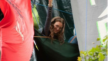 'Eli Rose' from St Albans spent sixteen days in a tree protesting about HS2 at Parliament Square. Pi