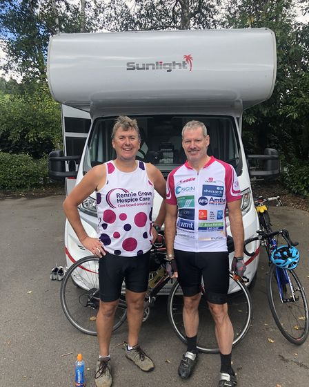 Bevan (left) with David Fryer, wearing Isle of Wight 2015 jersey, one of the Team Forge members who